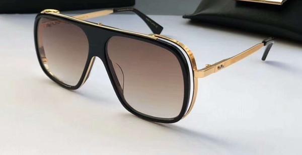 Vidros piloto do inclinação 60mm de Brown dos óculos de sol do piloto do ouro da resistência dos homens novos com caixa