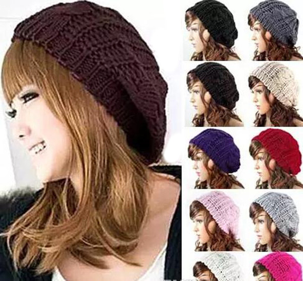 Lady Winter Warm Knitted Hats Caps Crochet Slouch Baggy Beret Beanie Hat Cap Fashion Knitted Headwears
