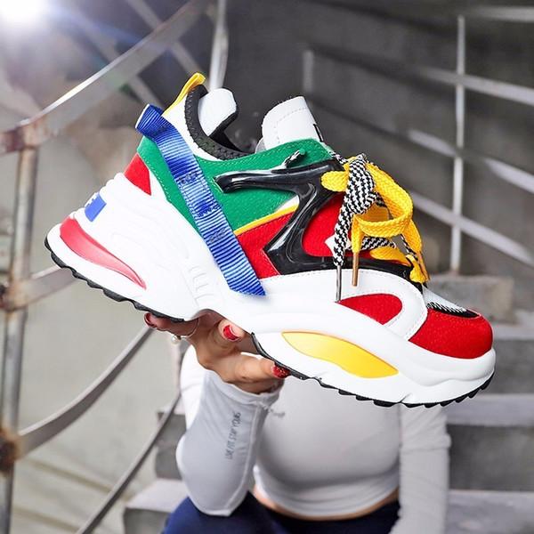 1bomlight Модные женские кроссовки на толстой подошве женские туфли на платформе Web знаменитости коренастый папа кроссовки Chaussures Femme Buty Damskie