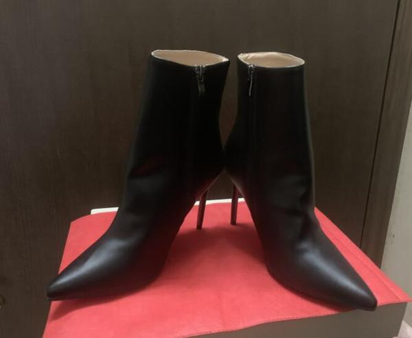 2019 luxe noir en cuir rouge avec des pointes orteils femmes bottines designer de mode sexy dames fond rouge talons hauts chaussures pompes