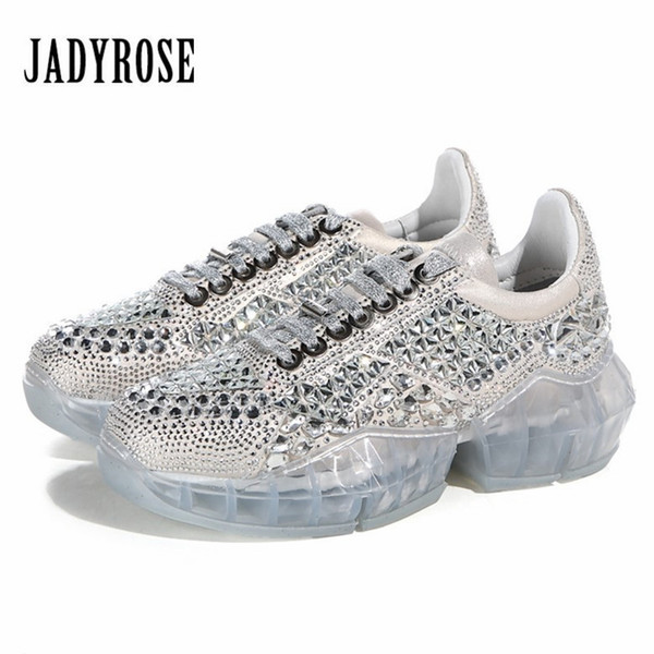 Jady Rose Rhinestone Women Sneakers Female Transparent Platform Creepers Lace Up Flat Shoes Woman Ladies Espadrilles Trainers