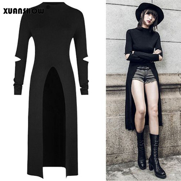buy cheap bright in luster Sales promotion 2019 Xuanshow New Streetwear Style 2018 Fashion Black Holes Full Sleeve  Women'S Clothing Women Tuxedo Shirt Dress Harajuku Clothing J190511 From ...