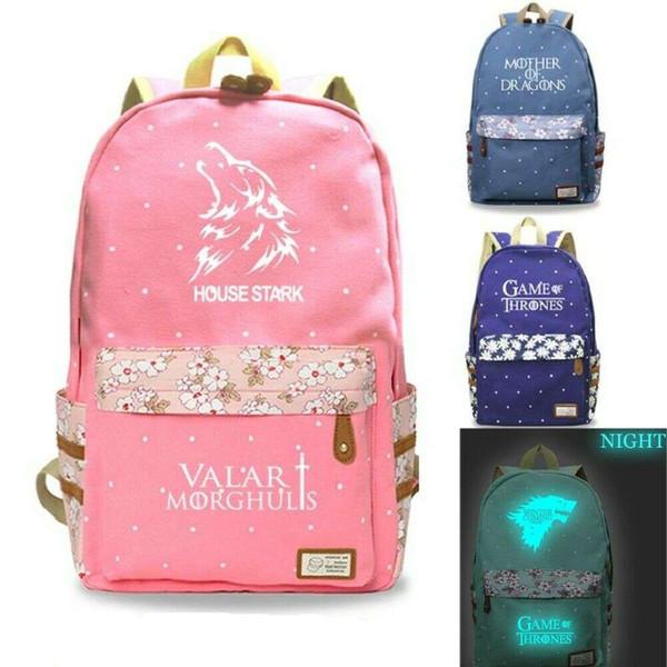 Game of Thrones 8 Luminous Canvas Backpack Teenager Students Waterproof Shoulderbag Schoolbag Rucksack Laptop Bag Handbag Satchel Bookbag