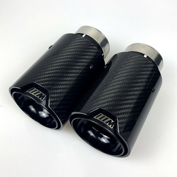 best selling 1pcs Universal M LOGO Carbon Fiber Exhaust tips For M Performance exhaust pipe For BMW Exhaust tips Glossy Carbon