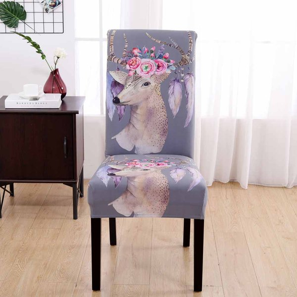 Hotel Charm Elk Stretch Dining Chair Cover Spandex Jacquard Seat Protector Covers Elastic Seat Case Living Room Slipcover