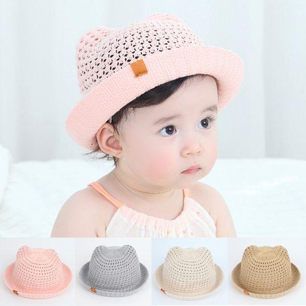 Panama Children's Summer Baby Hats Children Bucket Cap For Infant Baby Boys Girls Sun Hat Hollow Mesh Caps Casual Beach