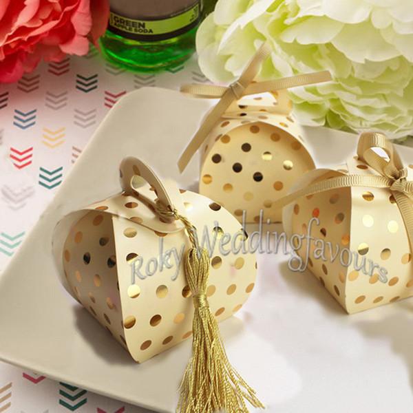 Acquista Scatole Di Caramelle A Pois D Oro 50 Pezzi Bomboniere Di Compleanno Bambini Forniture Feste Di Nozze Scatole Dolci D Anniversario Tavolo