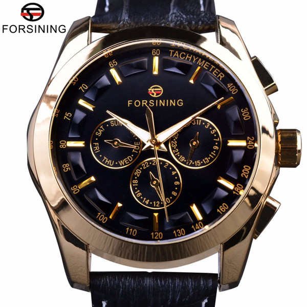FORSINING Fashion Men Sport Mechanical Watches Leather Strap Luxury Casual Mens Automatic Rose Gold Watches Relogio Masculino SLZ49