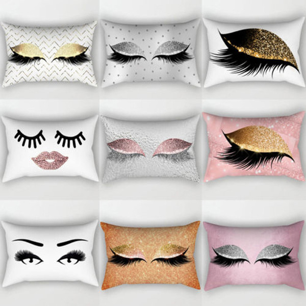 best selling Brand New Style Creative Eyelash Polyester Pillow Case Waist Throw Home Decor