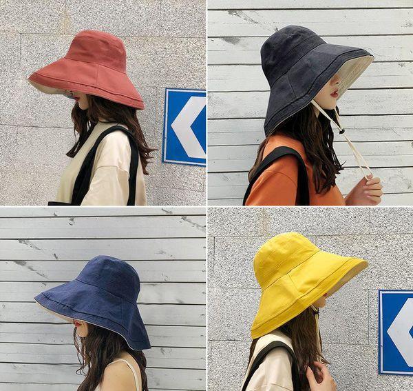 Hot anti-UV wide Brim cotton linen sun hat vacation summer bucket hat large brim korean foldable beach hat for women