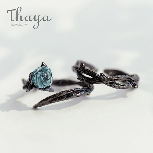 Thaya Rose Thorns S925 Silver Rings Blue Crystal Rose Flower Vintage Plant Valentine's Gift For Women Knot Black Fine Jewelry Y19061003