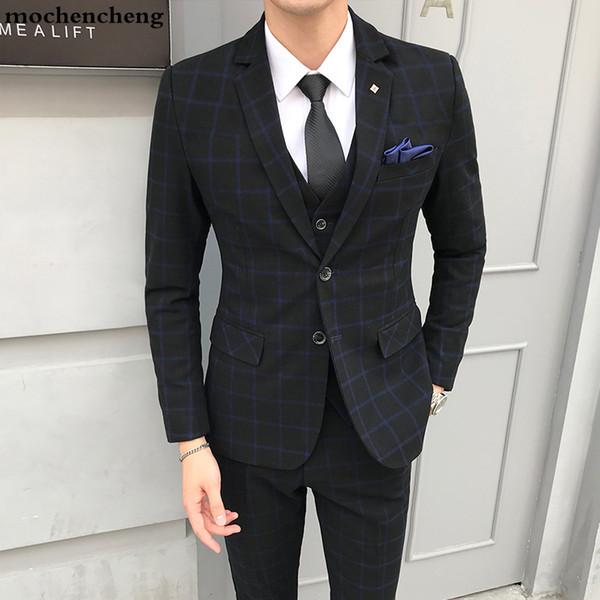 New 2019 Autumn Mens Suit (jacket+vest+trousers) England Style Plaid Casual Suit Jacket Male Fashion Wedding Goom Men