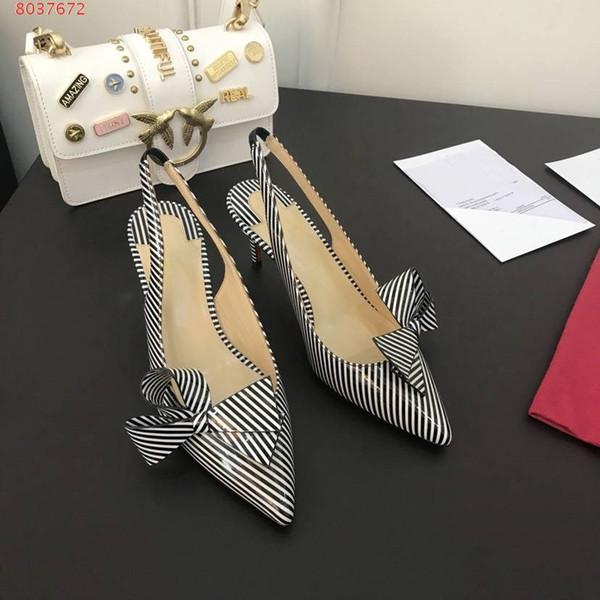 Fashion designer women Clare Nodo pointy-toe pump high heel 6.5cm 8.5cm 10cm black white striped patent leather bow low-cut slingback