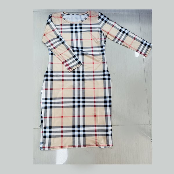 Vestidos de grife das mulheres 2019 roupas de verão senhora luxo manga comprida dress o pescoço three quarter manga xadrez partido trabalho saias de negócios