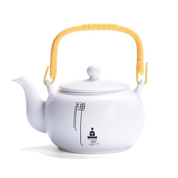 Zen elevação Ceramic Handle Teapot 550ml branco porcelana punho de madeira Tea Pot Tea Set Fazer Servers