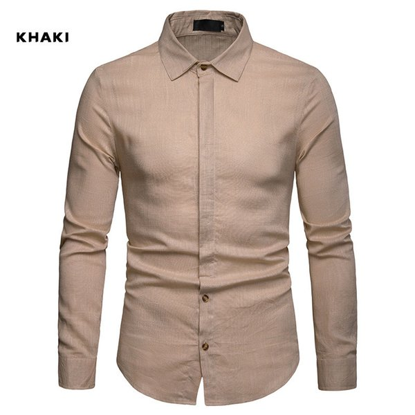 2019 New Linen Shirt Men Loose Large Size Single-breasted Solid Business Dress Shirt Fashion Casual Society Camisa Masculina