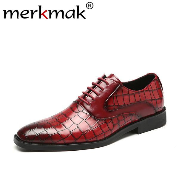Merkmak punta estrecha zapatos de cuero de zapatos de los hombres de moda del patrón del cocodrilo de negocios grandes del tamaño 37-48 Wedding Party Calzado mejor regalo