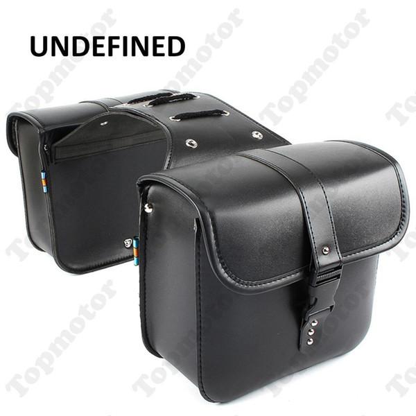 Moto preta PU de couro da motocicleta Peças de ladinho sacos de ferramenta de bagagem Pannier Cruiser UNDEFINED