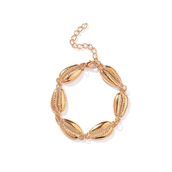 10pcs / Lot Style Bohème Alliage Shell Charme Bracelet Chaîne Ornements À La Main Femme Simple Bracelet De Bracelet Bracelet