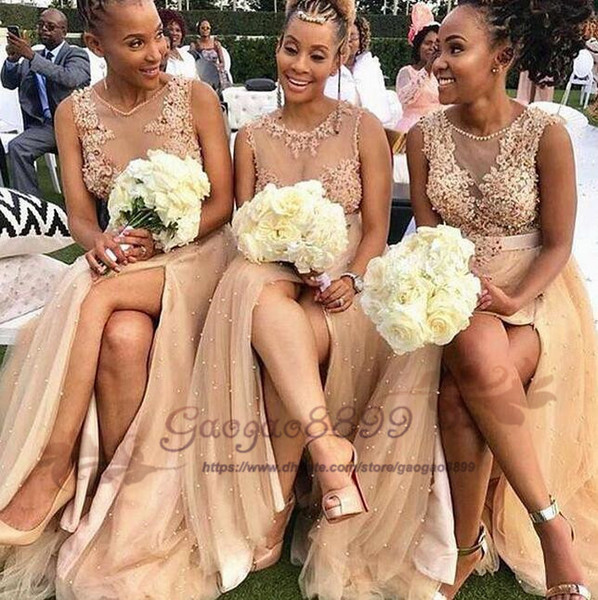 Blush Pink Split Long Bridesmaids Dresses 2019 Sheer Neck with Pearls beaded Maid of Honor gowns Appliques Lace Country Wedding Guest Cheap