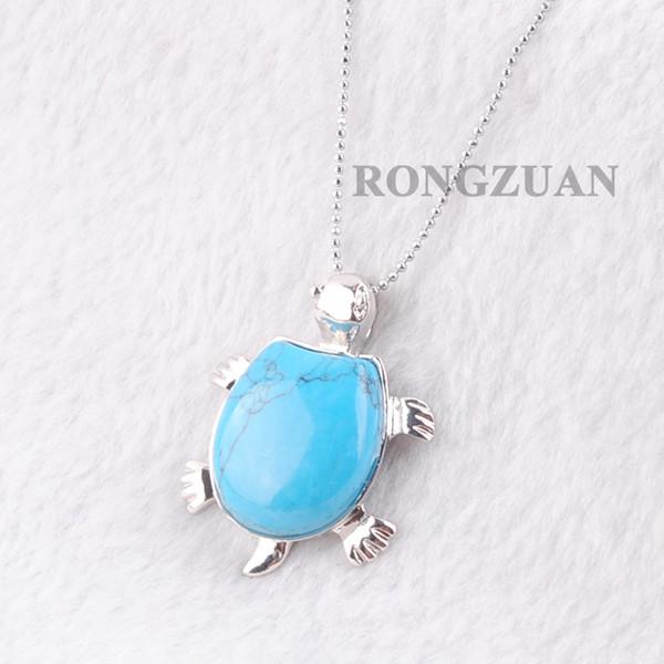 Синий Бирюзовый Натуральный камень Подвески женщин подарка ювелирных изделий способа животных Черепахи Форма ожерелье Чакра Цепь 18