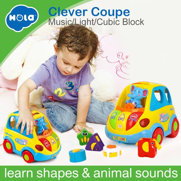 Hola 896 Lernen Lernspielzeug Auto Cartoon Kind Lustig Bus Spielen Matching Game Spielzeug Mit Musik / licht / kubik Block Kinder Spielzeug J190525