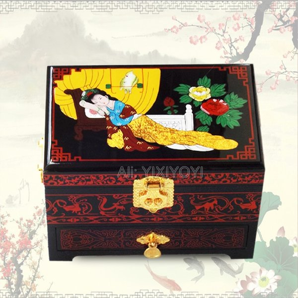 Retro Chinese 3 Layer Wood Storage Jewelry Box with Mirror Wedding Bangle Display Sleeping Beauty Box Container Carrying Case