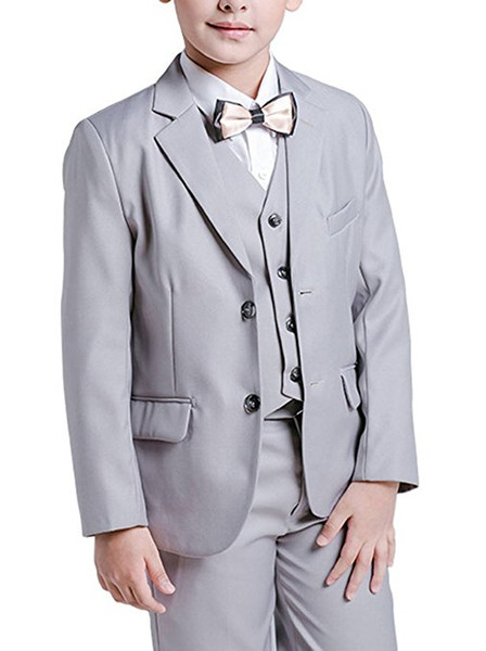 Boy Suit Notch Lapel Custom Made Grey Kid Suit Wedding /Prom/Dinner/Leisure/show Children suit ( Jacket+Pants+Vest+Shirt+Tie ) M1355