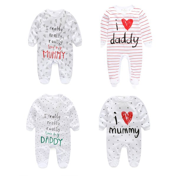 Newborn Baby Cotton Jumpsuit Infant Baby Letter Daddy Mummy Romper Kids Designer Clothes Cartoon Casual Wrap Foot Romper 06