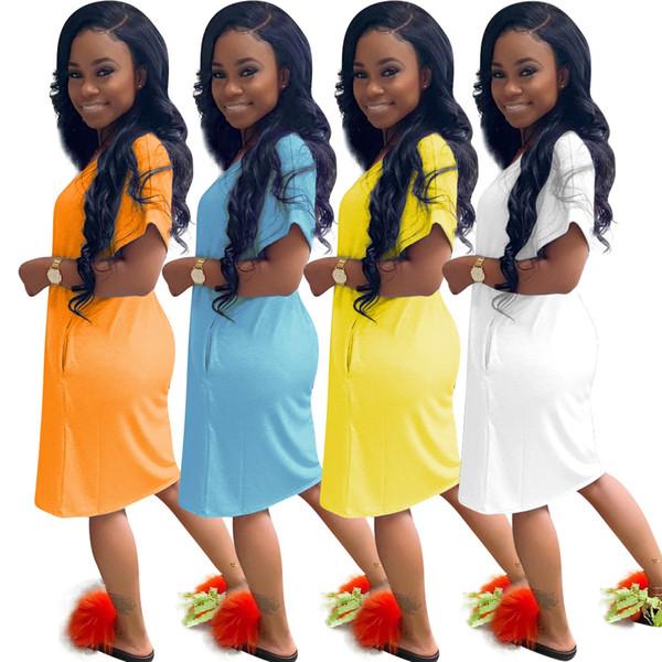 Women V-Neck Mini Dresses Short Sleeve Night Club Dress Candy Color Causal Cool Beach Dress
