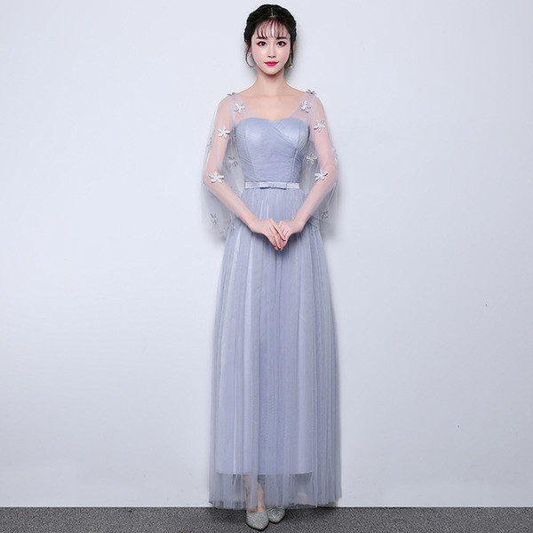 In Stock Long Appliques Cheap Bridesmaid Dresses with Sleeves for Women Weddings Party Girls Prom Cocktail Mesh Tulle Evening Dresses