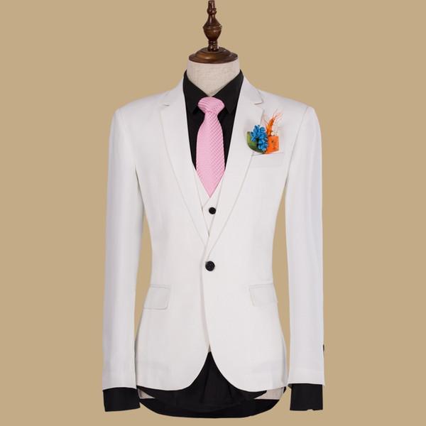 White Wedding Groom Tuxedos Peaked Lapel Three Piece Custom Made Evening Party Men Suits 2019 Jacket Pants Vest