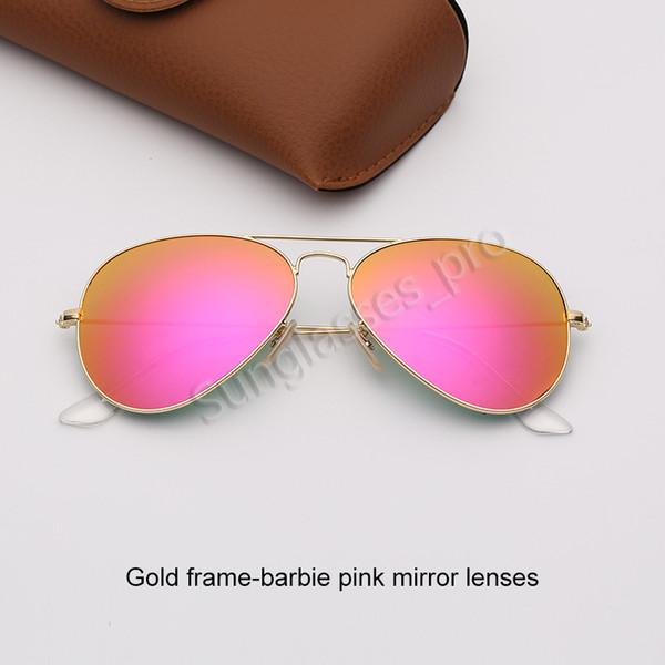 Altın çerçeve-barbie pembe ayna lensleri