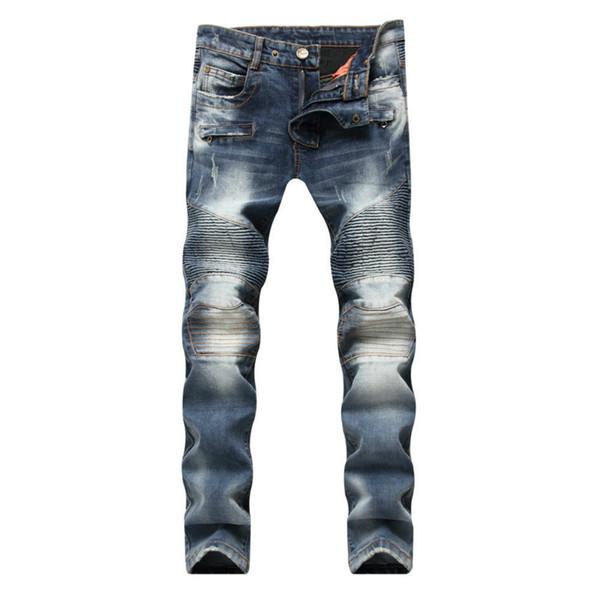 2018 novos jeans homens América, Europa e Estados Unidos aparar locomotivas de cilindros retas dobrar para fazer jeans velhos