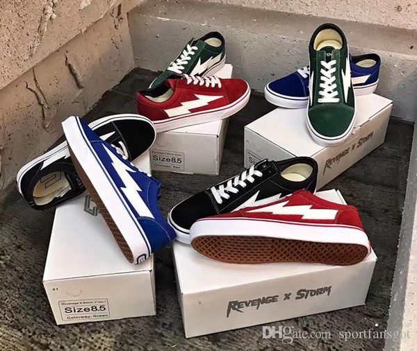 2018 REVENGE x STORM Shoes,Revenge of the storm! joint lightning KANYE little brother works, four color men and women shoes with box 36-44