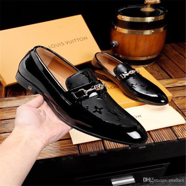 20FW luxury brands patent leather men shoe wedding oxfords formal shoes men dress shoes Slip-on oxford shoes for men sapato social YECQ4