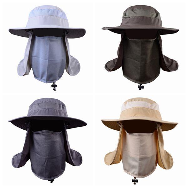 Açık Etkinlik Bisiklet Güneş Kap Balıkçılık Şapka Ile Unisex Geniş Ağız Güneş Koruma Şapka Çıkarılabilir Boyun Flap Yüz Kapak ZZA966