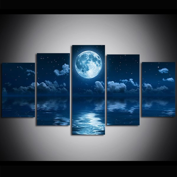 5 Piece Large Size Canvas Art Print Oil Painting Ocean Star Moon Wall Pictures for Living Room Paintings Wall Decor Modern Design