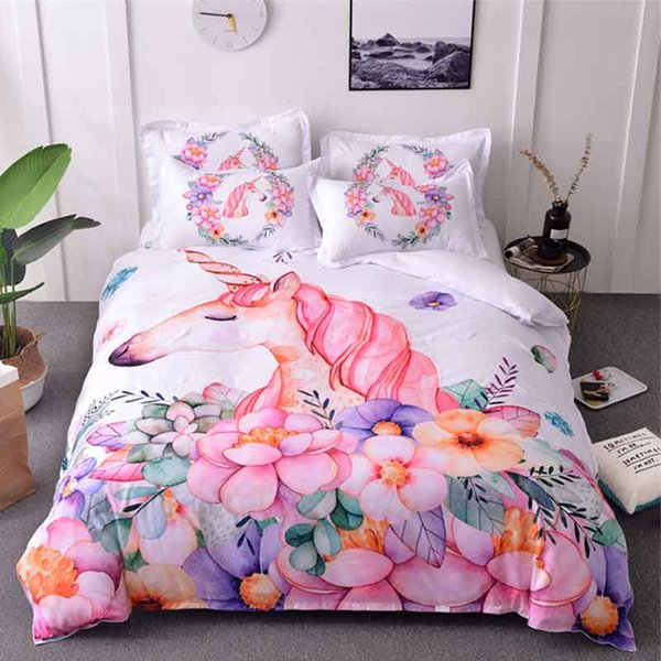 Unicorn Bedding Set Watercolor Cartoon Duvet Cover Pillowcase Twin Queen Size Kids Bedroom Bed Cover Home textile