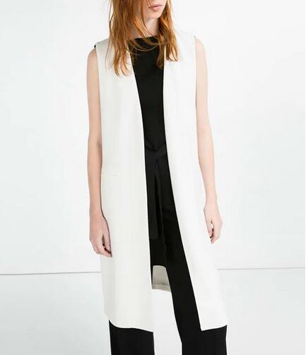 Yidora 2016 Woman Spring Blogger Street Fashion Neue Lange Weste Ärmelloser V-Ausschnitt Mit weitem Schärpe hinten ausgeschnitten