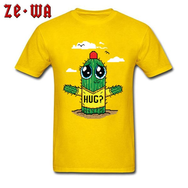 Cactus Hug T-shirt Men Funny T Shirts Yellow Tops Summer Cute Cartoon Tshirt 100% Cotton Clothing Pixelated Graphic Tees