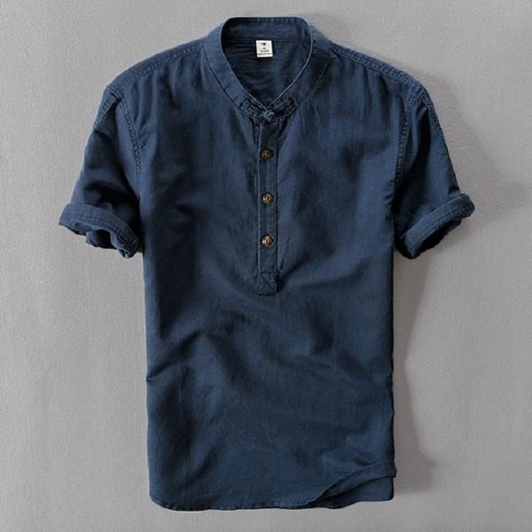 Мужские рубашки Мода Лето с коротким рукавом Тонкие льняные рубашки Мужской Белый цвет Повседневные рубашки Плюс Размер 4xl Топы Оптовая