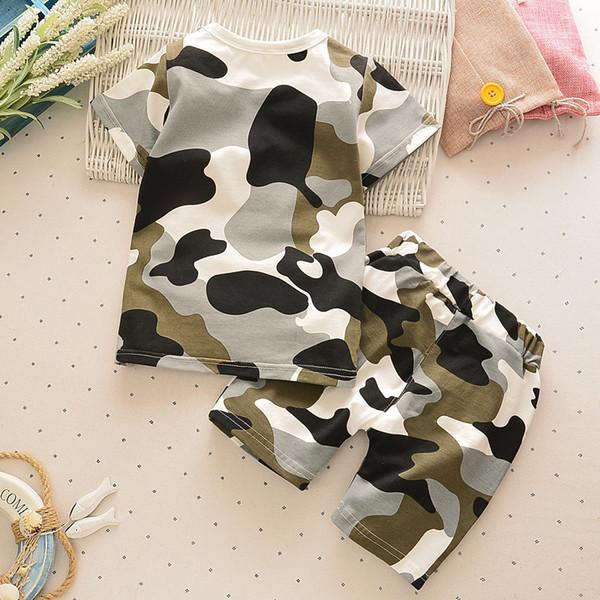 Infantil terno infantil roupas novas verão exército fã camuflagem bebê menino menina de algodão de manga curta shorts 2PCS / terno roupa recém-nascido