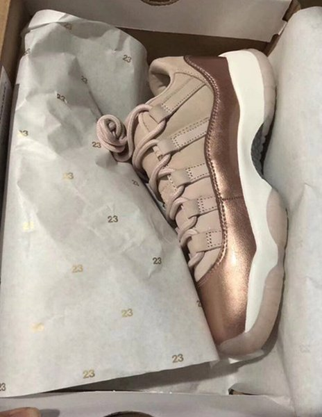 New 11 LOW ROSE RED BRONZE Metallic Gold women basketball shoes sports trainers sneakers with box free shipping best quality size 36-43