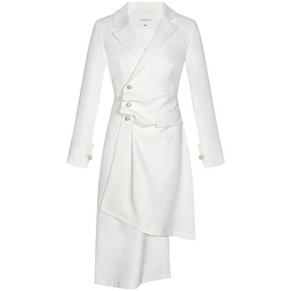 primavera elegante OL business usura bianco vestito semplice dal collare del quadrato orlo irregolare abiti firmati donne del vestito lungo manicotto