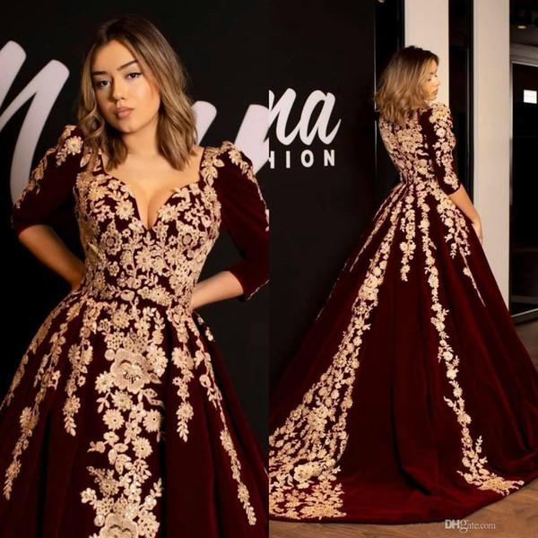 Kaftan caftano abiti da sera in velluto bordeaux abito da ballo mezza manica 2019 oro lussuoso applique arabo arabo abaya abiti occasione