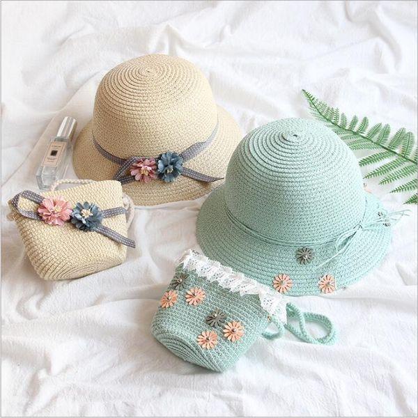 키즈 비치 모자 가방 소녀 공주 스트로 Hadbags 꽃 Sunbonnet 모자 토트 정장 여름 일 레이스 버킷 모자 파티 비치 가방 B5705 캡