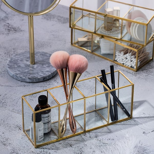 Luxury Clear Glass Makeup Box Cosmetic Storage Box Makeup Brushes Organizer Pencil Lipstick Holder Tools Organizer Case