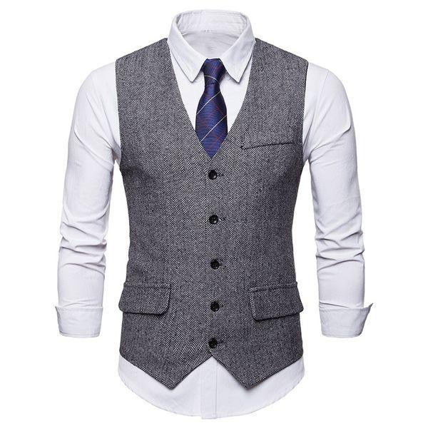 Mens monopetto vest gilet da uomo formale gilet Homme 2018 nuovo grigio gilet a spina di pesce uomo slim fit chalecos hombre j190430