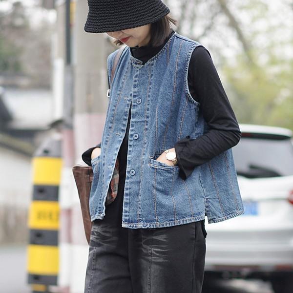 Denim Sleeveless Jacket 2019 Women Spring brand high-quality vintage Literary Cowboy sleeveless Coat Raw Cowboy Vest Collar Coat